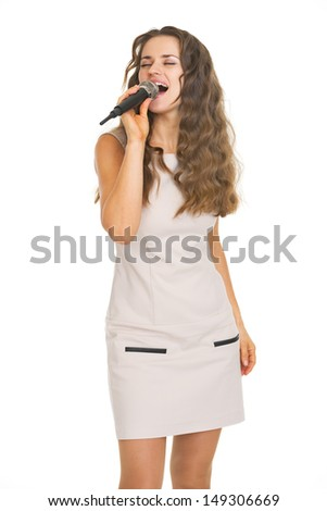 Portrait of singing young woman