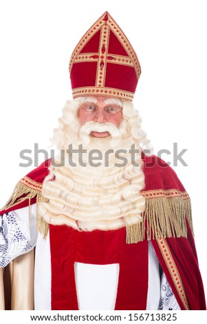 Portrait of Sinterklaas on a white background - stock photo