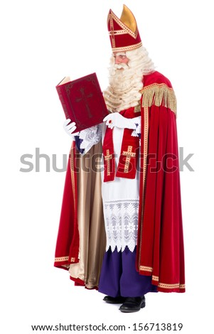 Portrait of Sinterklaas with his book, on a white background - stock photo