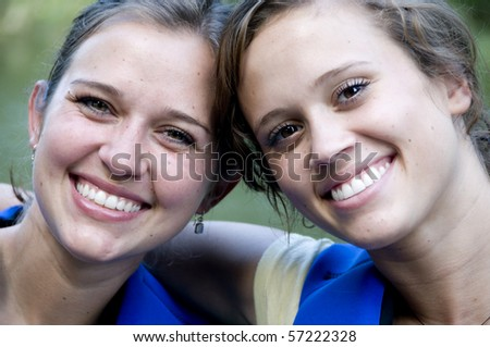 Portrait of sisters smiling