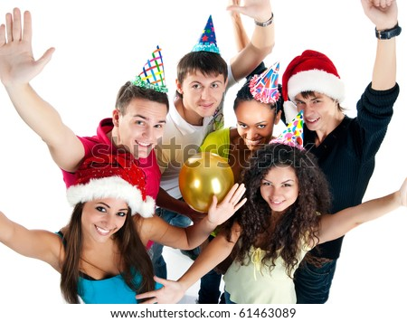 Portrait of six friends celebrating New Year's arrival - stock photo