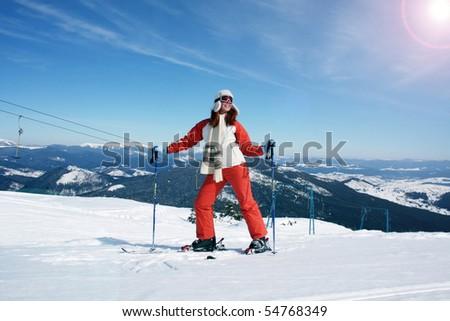 Portrait of skier - stock photo