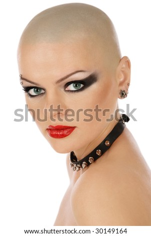 Portrait of skinhead woman with leather collar