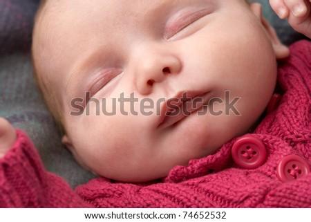 Portrait Of Sleeping Newborn Baby Girl - stock photo