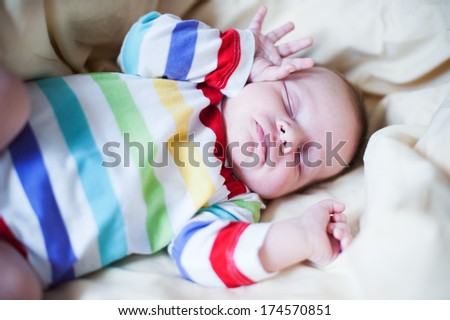 Portrait of sleeping newborn child  - stock photo
