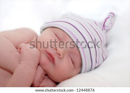 portrait of sleeping young baby - stock photo