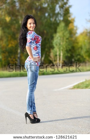 Portrait of slim young girl - stock photo