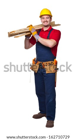 portrait of smailing  manual worker on white background