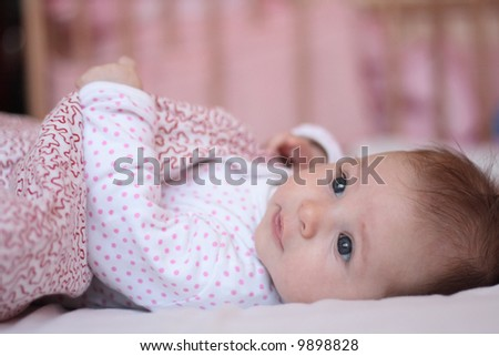 portrait of small baby - stock photo
