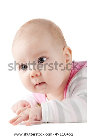 Portrait of small baby. Isolated on white background