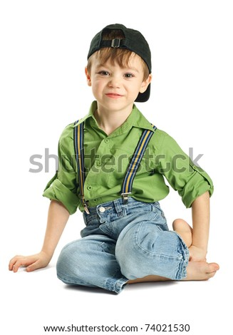 Portrait of small boy in baseball cap isolated on pure white background - stock photo