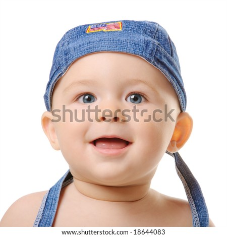Portrait of small boy wearing blue bandana. Isolated - stock photo