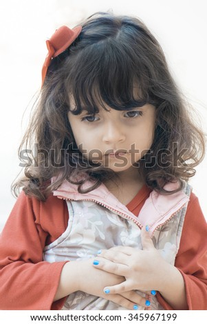 Portrait of Small girl on white background