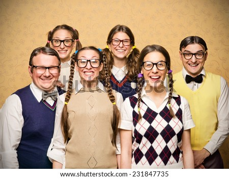 Portrait of small group of nerds - stock photo