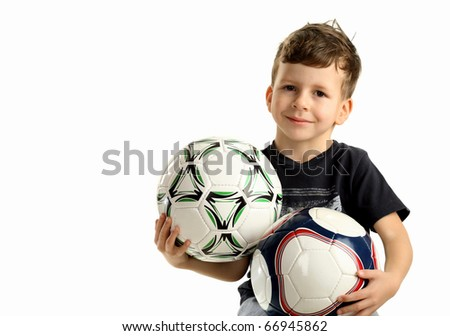Portrait of small happy boy with two ball, isolated on white - stock photo