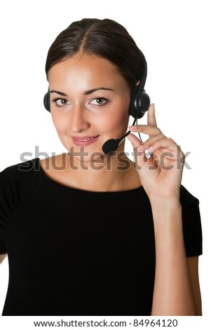 Portrait of smart call center employee - stock photo