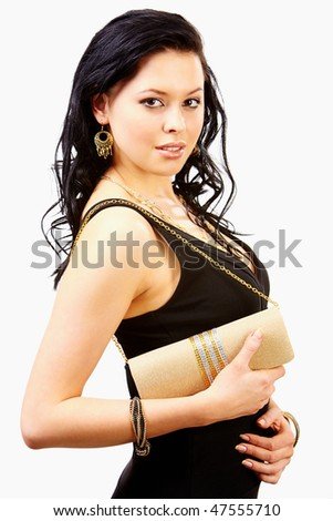 Portrait of smart woman wearing black dress with hand bag - stock photo