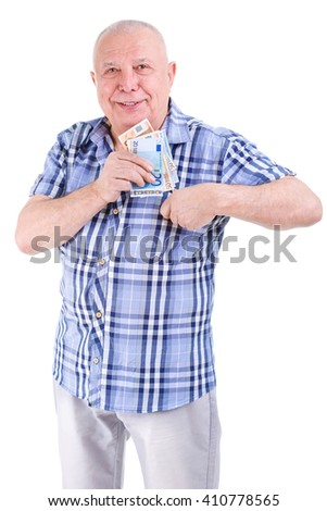 Portrait of Smile and happy old senior man 80 years old in shirt, put euro money in shirt pocket, isolated on white background. Positive human emotion, facial expression - stock photo