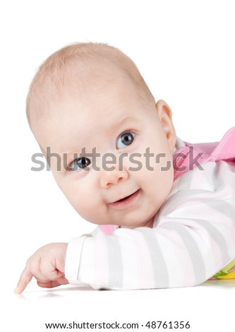 Portrait of smiled baby. Isolated on white background - stock photo