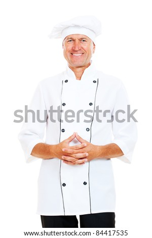 portrait of smiley chef. isolated on white background - stock photo