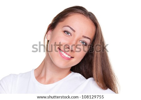 portrait of smiley female over white background - stock photo