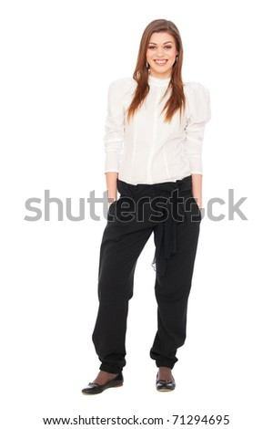 portrait of smiley student over white background
