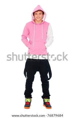 portrait of smiley teenager over white background - stock photo