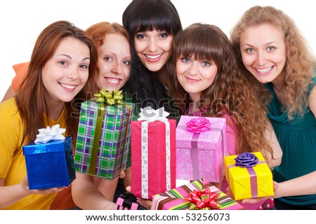 portrait of smiley women with motley gift boxes - stock photo