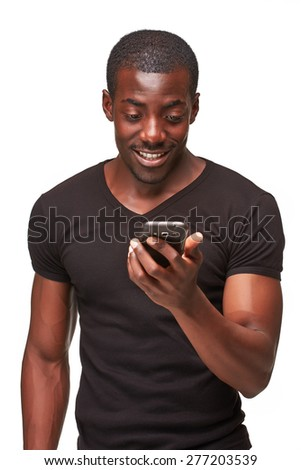 Portrait of smiling african man talking on the phone isolated on a white background - stock photo