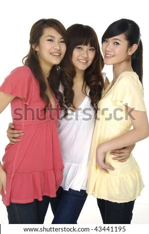 portrait of smiling asian girl - stock photo