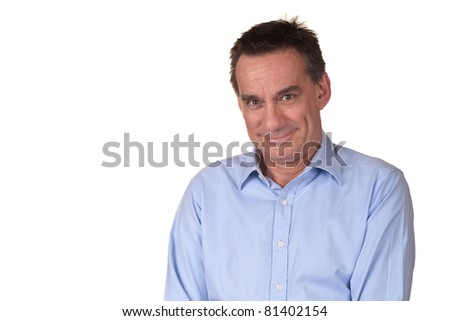 Portrait of Smiling Attractive Middle Age Man in Blue Shirt with Sweet Smile