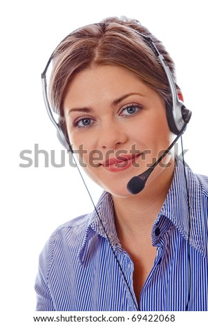Portrait of smiling attractive woman over white. Consultant. - stock photo
