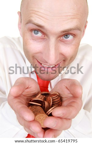 Portrait of smiling bald headed businessman with pile of change in hands, isolated on white background. - stock photo