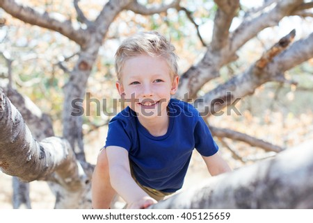 portrait of smiling beautiful boy climbing the tree in the park - stock photo