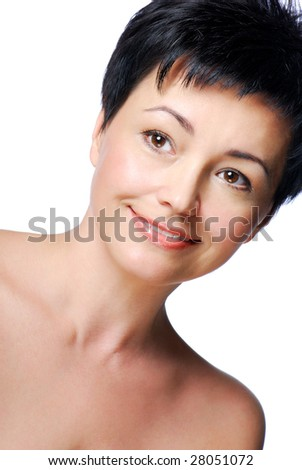 Portrait of smiling beautiful mid adult woman with healthy skin