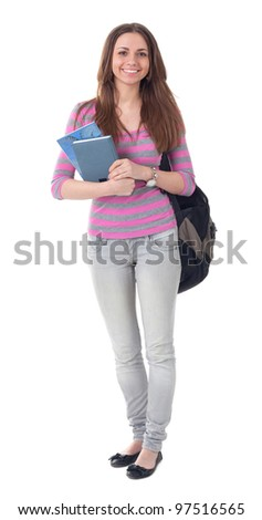 Portrait of smiling beautiful student with books on white background