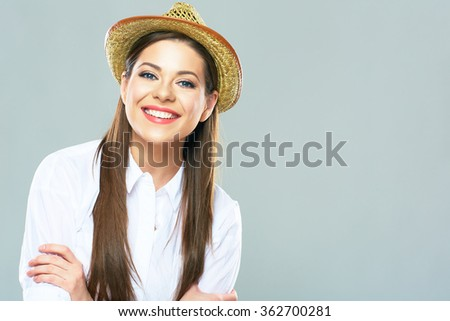 Portrait of smiling beautiful woman. Positive emotional girl close up portrait. Isolated - stock photo