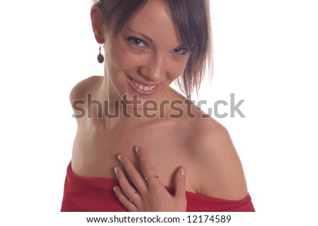 Portrait of smiling beautiful young woman on white