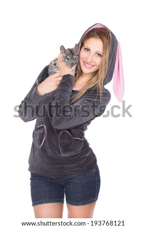 Portrait of smiling blond woman with chinchilla. Isolated on white