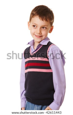 Portrait of smiling boy looking aside on a white background - stock photo