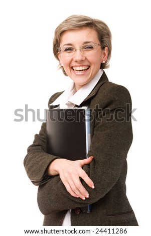 portrait of smiling business lady with papers, isolated on white background - stock photo