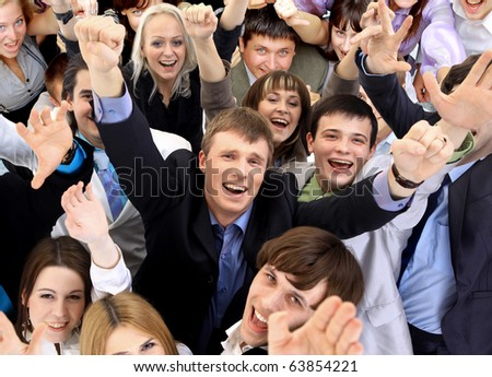 Portrait of smiling business people against white background - stock photo