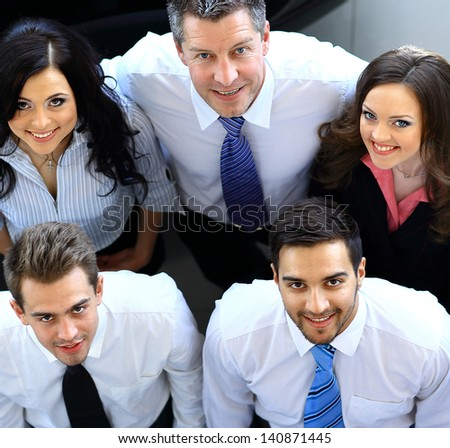 Portrait of smiling business people. Top view - stock photo