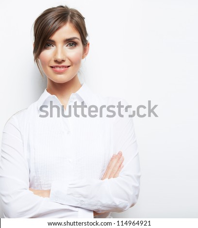 Portrait of smiling  business woman, isolated on white background - stock photo