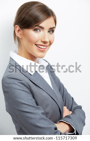 Portrait of smiling  business woman, isolated on white background. Close up - stock photo