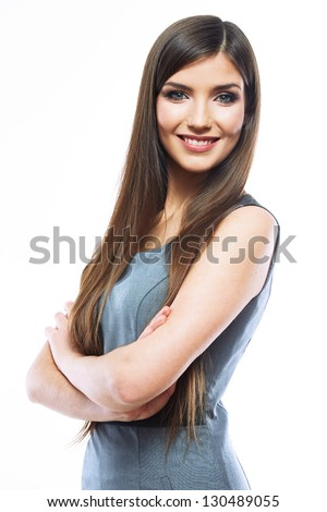 Portrait of smiling business woman, isolated on white background. Female model .