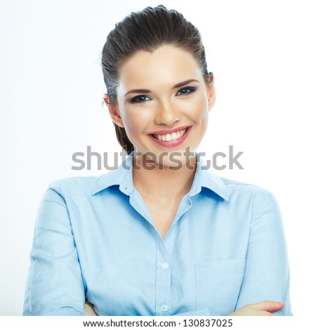 Portrait of smiling business woman, isolated on white background. Female model . - stock photo