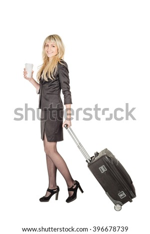 Portrait of smiling business woman, isolated on white background with coffee cup and suitcase.