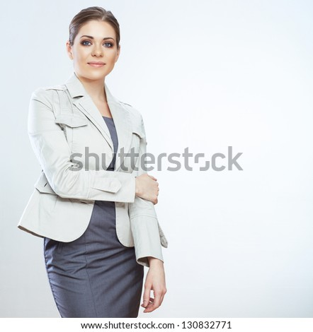 Portrait of smiling business woman, isolated on white background . Young female model . - stock photo