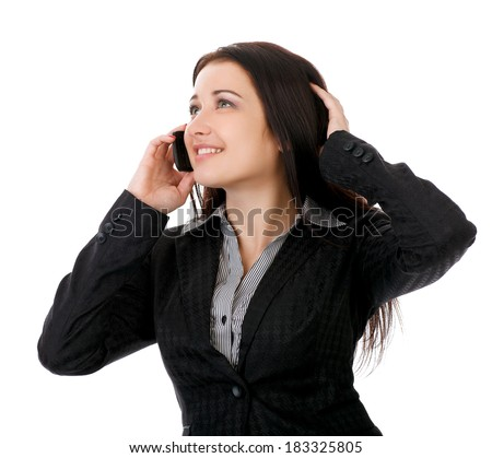 Portrait of smiling business woman phone talking, isolated on white background